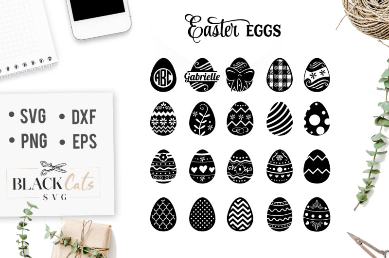 Easter Eggs Svg File Cutting File Clipart In Svg Eps Dxf Png For Cr Blackcatssvg