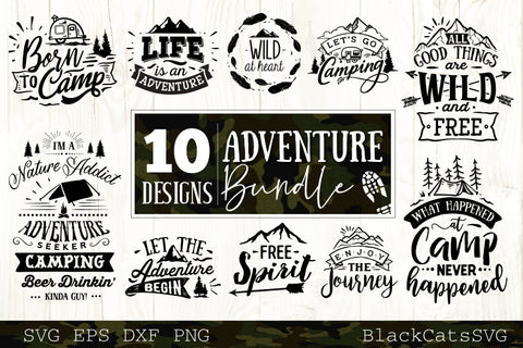 Adventure SVG bundle 10 designs Mountains and camping SVG bundle
