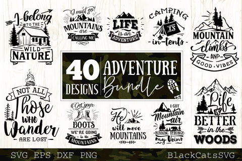 Adventure SVG bundle 40 designs Mountains and camping SVG bundle