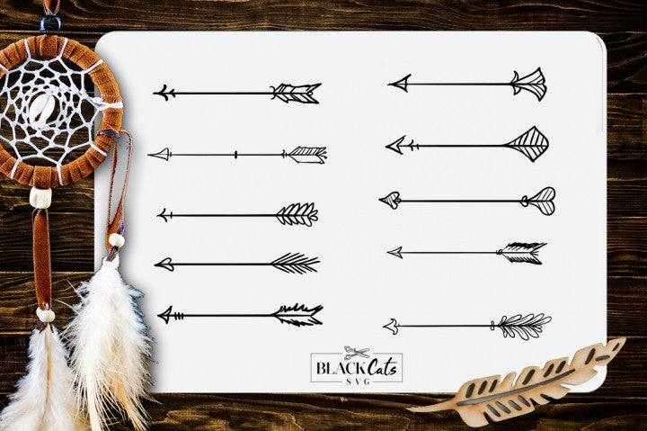 Doodle Arrows  -  SVG file Cutting File Clipart in Svg, Eps, Dxf, Png for Cricut & Silhouette - Boho wild arrows svg