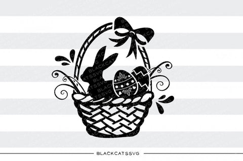 Easter Basket with bunny and eggs - SVG file Cutting File Clipart in Svg, Eps, Dxf, Png for Cricut & Silhouette