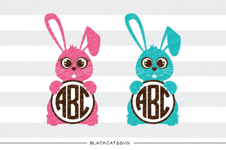 Easter Bunnies - round monogram -  SVG file Cutting File Clipart in Svg, Eps, Dxf, Png for Cricut & Silhouette