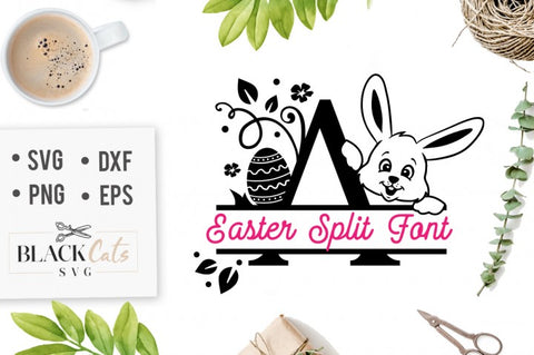 Easter Split font with bunny and Easter egg - SVG file Cutting File Clipart in Svg, Eps, Dxf, Png for Cricut & Silhouette