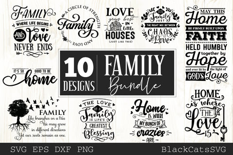 Family and home SVG bundle 10 designs