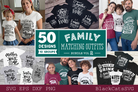 Family matching outfits SVG bundle 50 designs vol 2