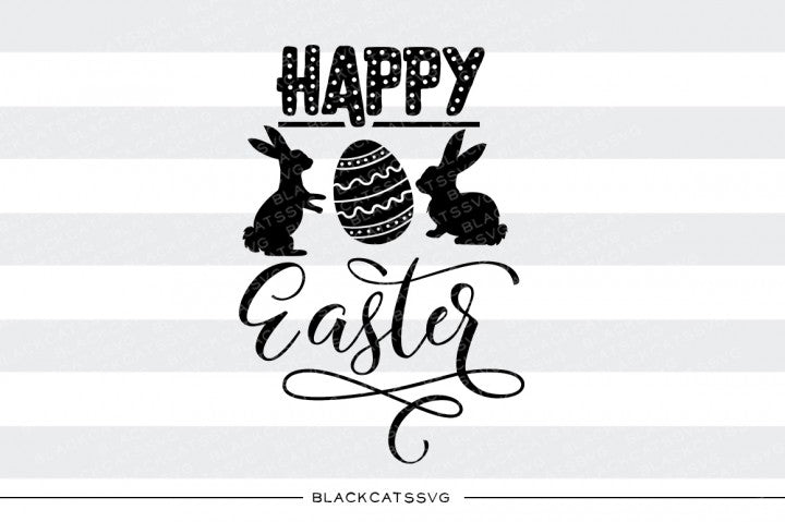 Download Happy Easter Svg Hoppy Easter Bunny Svg File Cutting File Clipart In Svg, Eps, Dxf, Png For Cricut & Silhouette Design