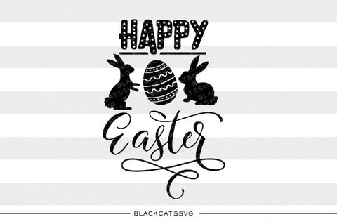 Happy Easter - bunnies and egg - SVG file Cutting File Clipart in Svg, Eps, Dxf, Png for Cricut & Silhouette
