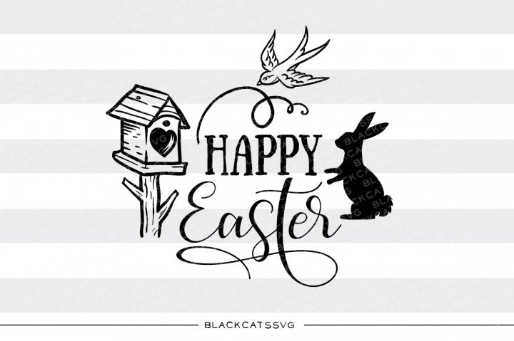 Happy Easter - bunny and bird- SVG file Cutting File Clipart in Svg, Eps, Dxf, Png for Cricut & Silhouette