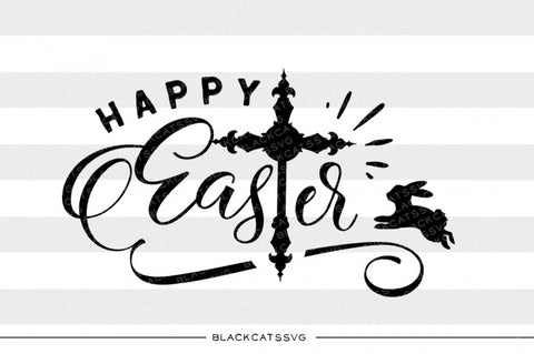 Happy Easter - cross and bunny - SVG file Cutting File Clipart in Svg, Eps, Dxf, Png for Cricut & Silhouette