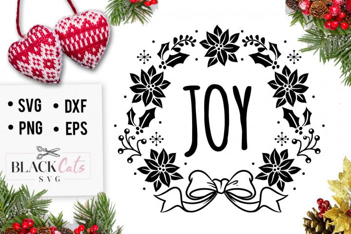 Joy - Christmas SVG - wreath