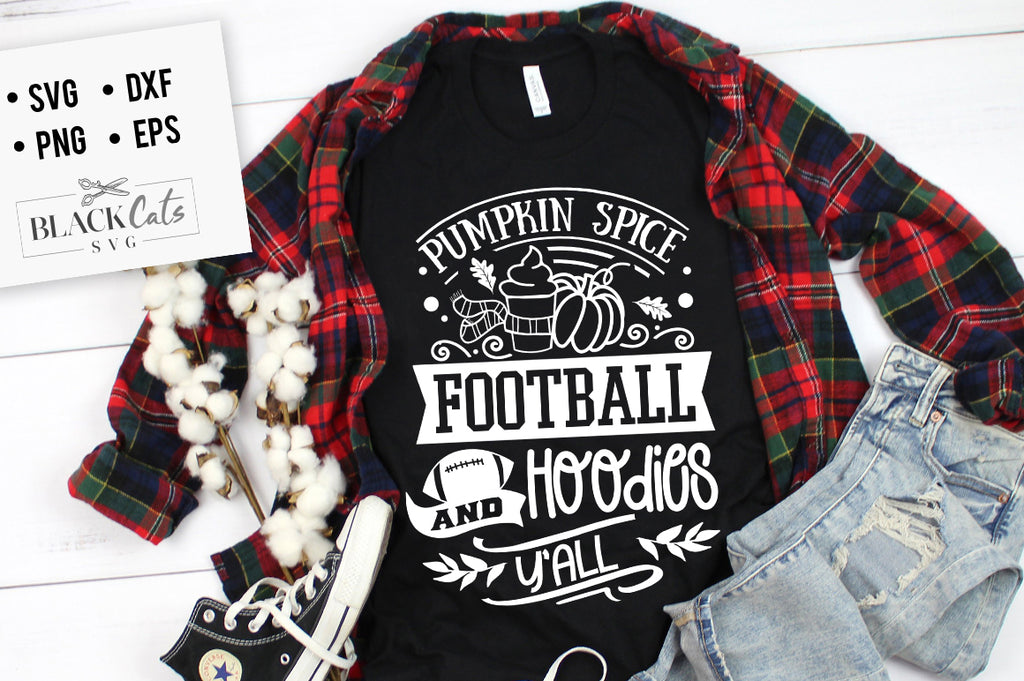 Pumpkin Spice Football and Hoodies SVG File