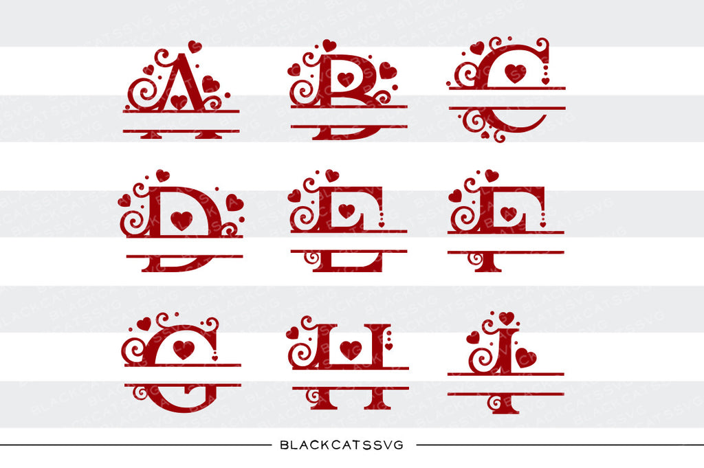 Monogram hearts split font Valentine SVG file Cutting File Clipart in Svg, Eps, Dxf, Png for Cricut & Silhouette svg Valentine - BlackCatsSVG