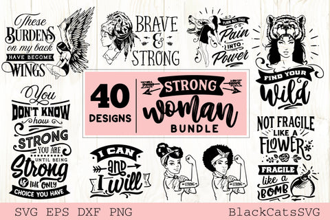 Strong woman SVG bundle 40 designs
