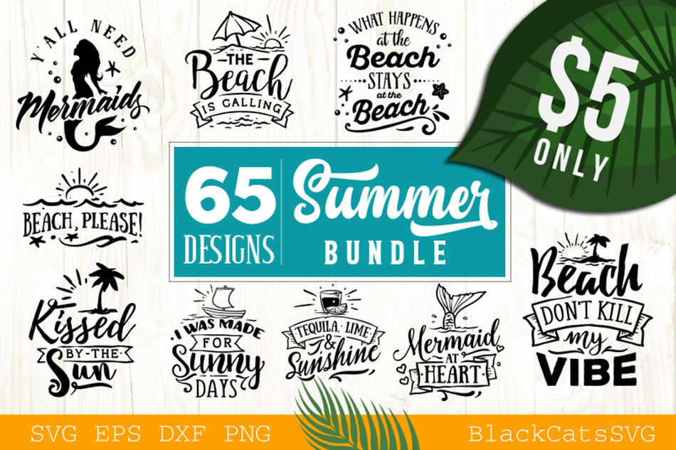 Summer Bundle - 65 Summer SVG files Bundle Summer SVG file Cutting File Clipart in Svg, Eps, Dxf, Png for Cricut & Silhouette