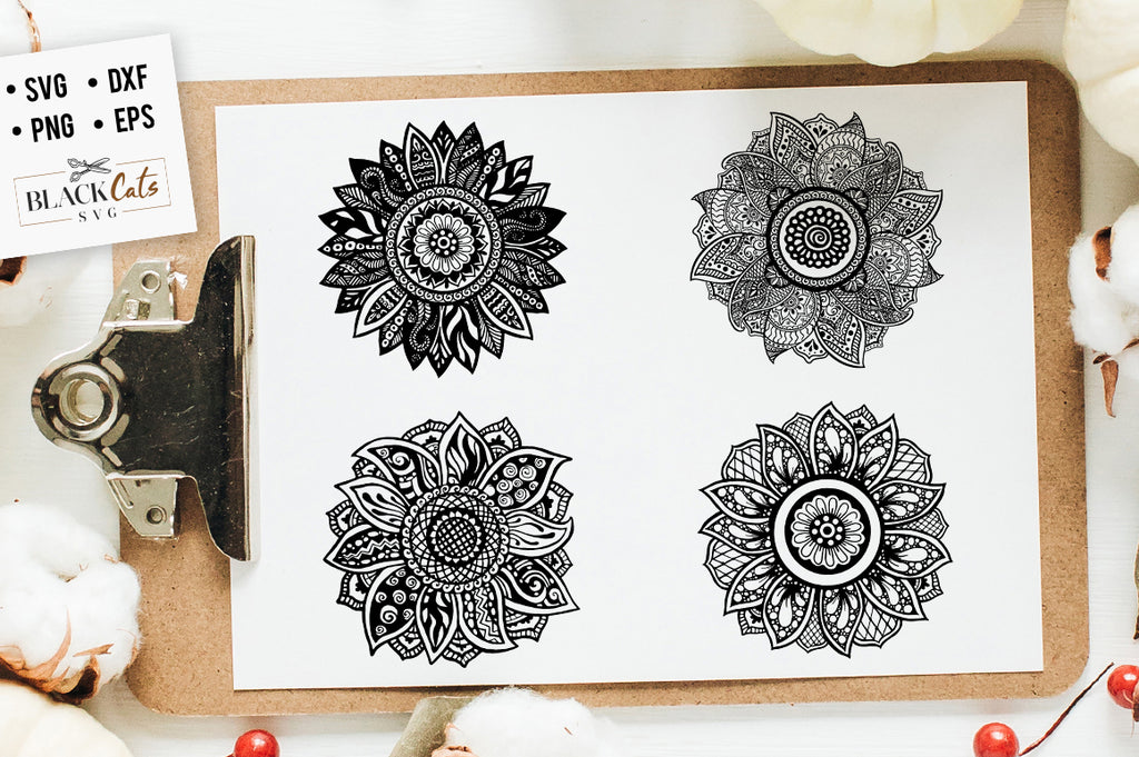 Sunflower Zentangle 5-6-7-8 SVG