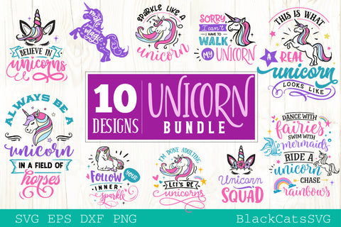 Unicorn Bundle SVG file Cutting File Clipart in Svg, Eps, Dxf, Png for Cricut & Silhouette