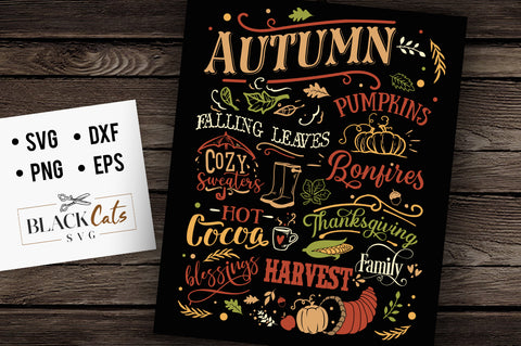 Autumn word poster FREE SVG file Cutting File Clipart in Svg, Eps, Dxf, Png for Cricut & Silhouette