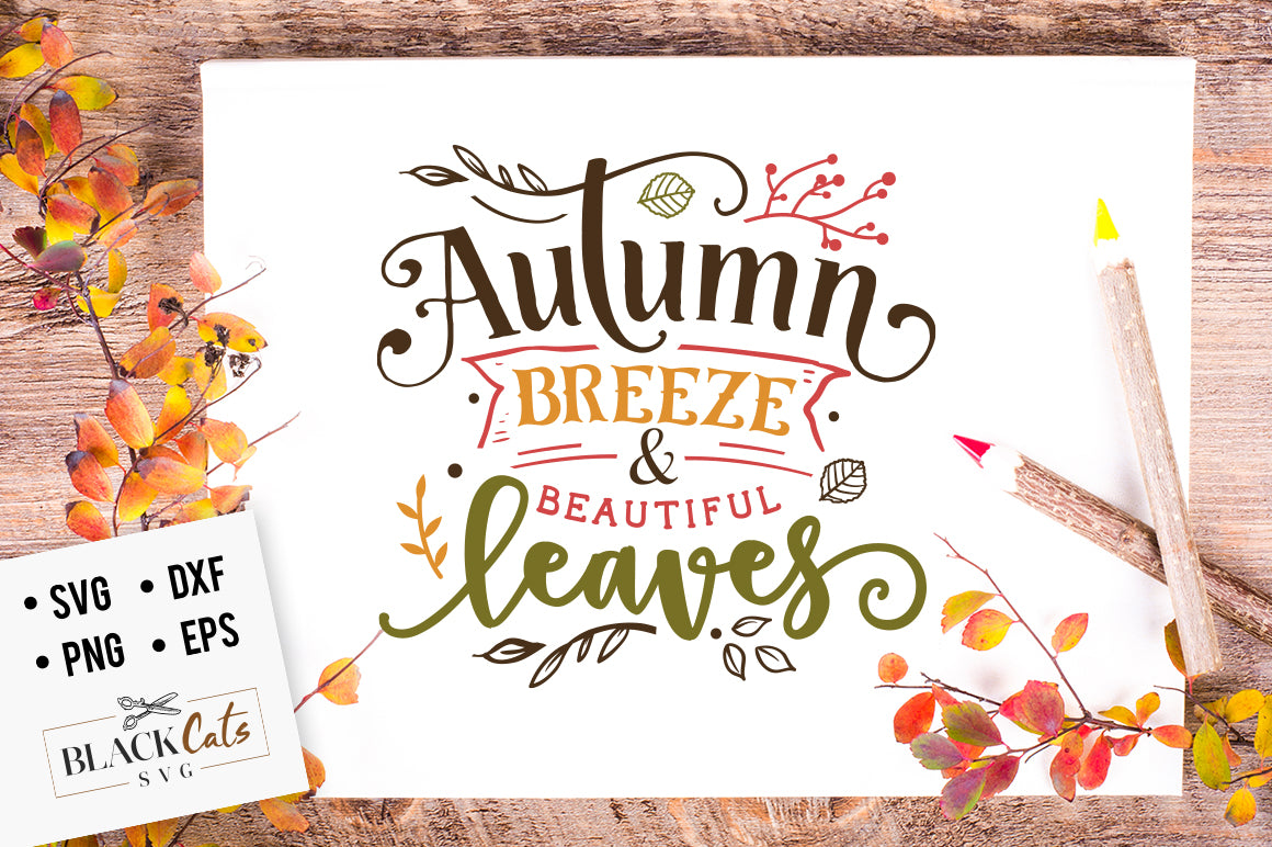 Autumn breeze and beautiful leaves SVG file Cutting File ...