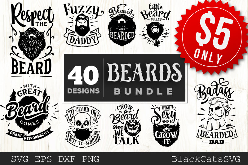 Beards SVG bundle 40 designs