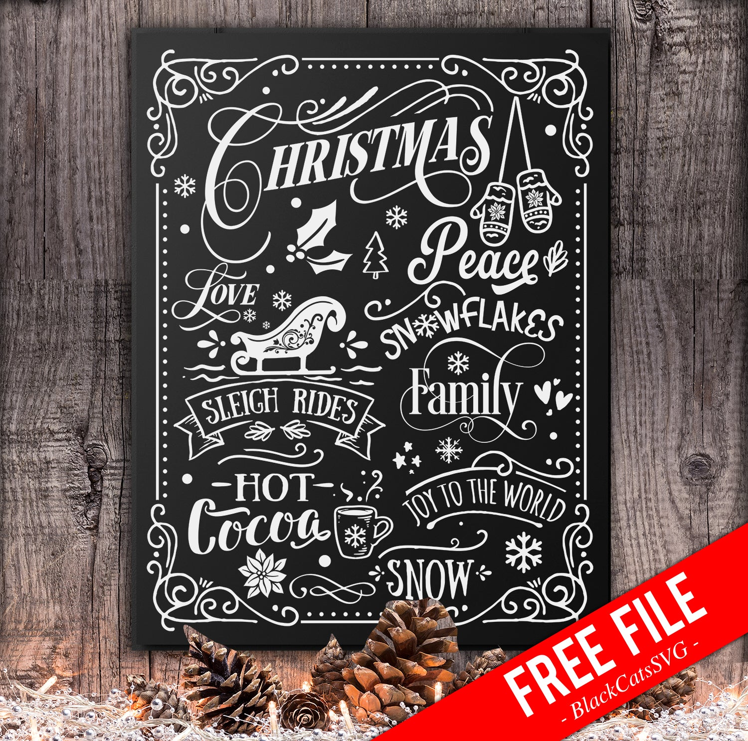 Christmas Word Art Poster Free Svg Cutting File