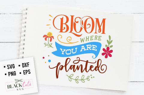Bloom where you are planted SVG file Cutting File Clipart in Svg, Eps, Dxf, Png for Cricut & Silhouette