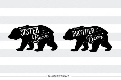 Brother Bear and sister bear -  SVG file Cutting File Clipart in Svg, Eps, Dxf, Png for Cricut & Silhouette