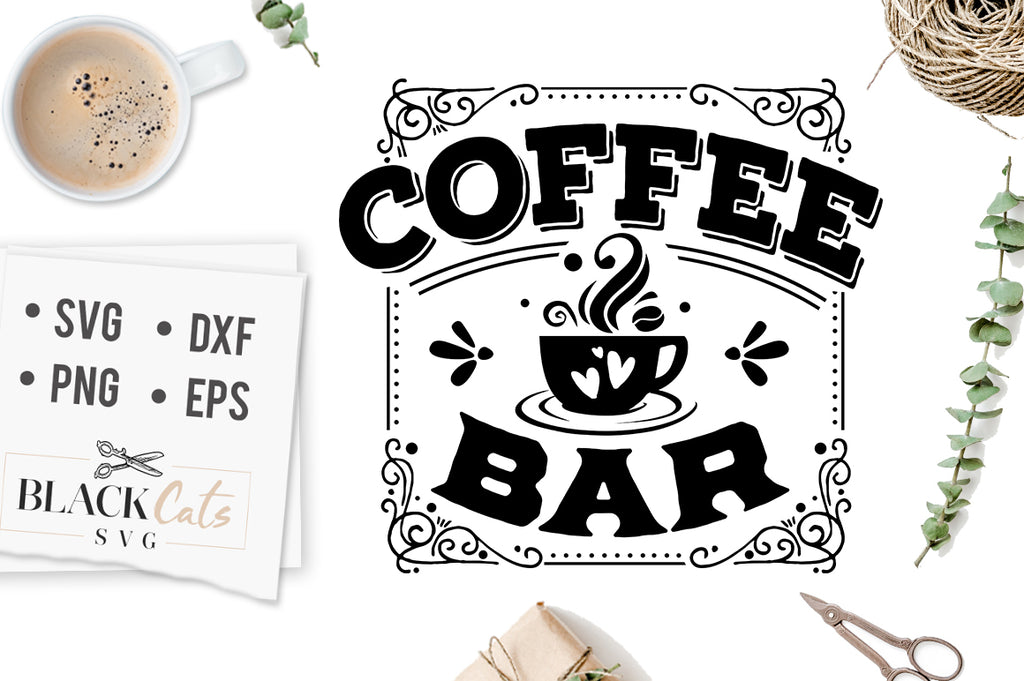 Coffee Bar - Square Sign SVG File