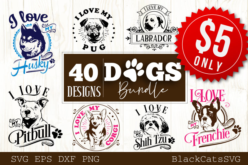 Dogs SVG bundle 40 designs