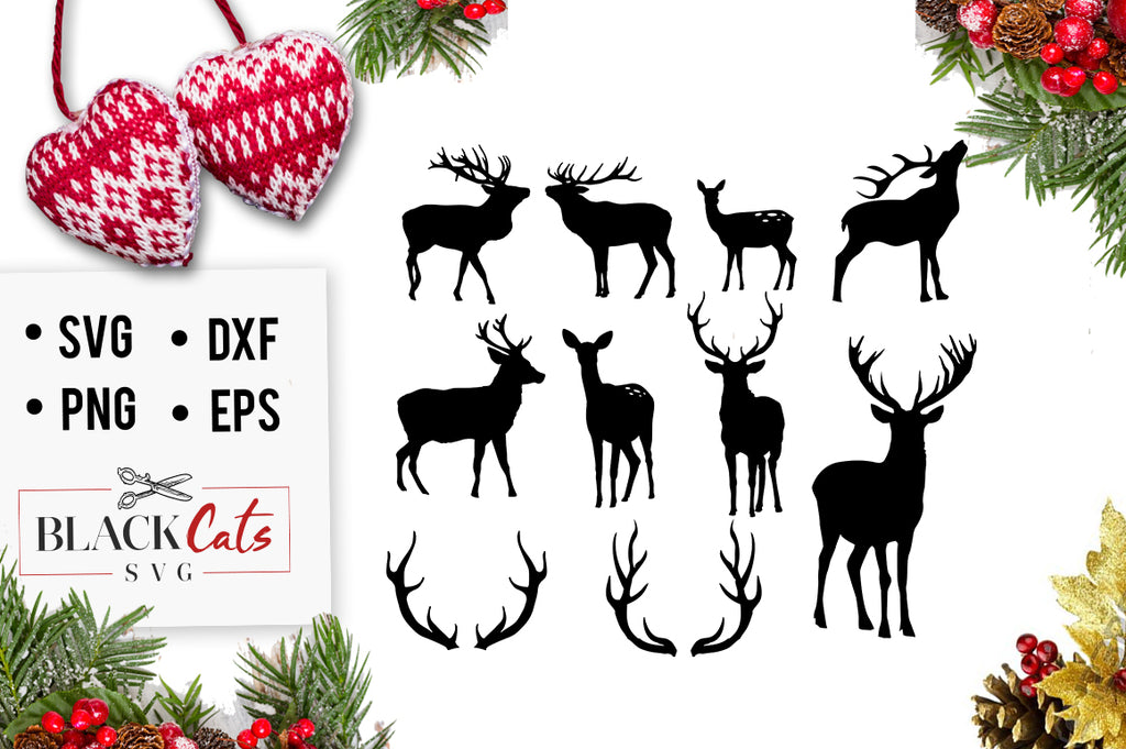Deers set and antlers SVG