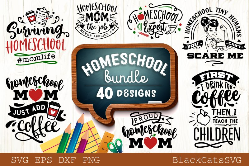 Homeschool Mom SVG bundle 40 designs homeschool SVG