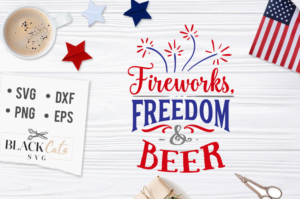 Fireworks freedom and beer SVG file Cutting File Clipart in Svg, Eps, Dxf, Png for Cricut & Silhouette