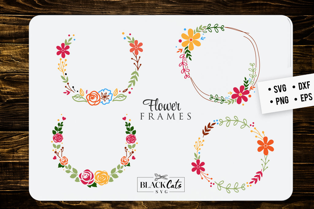 Flower frames SVG floral frames SVG file Cutting File Clipart in Svg, Eps, Dxf, Png for Cricut & Silhouette
