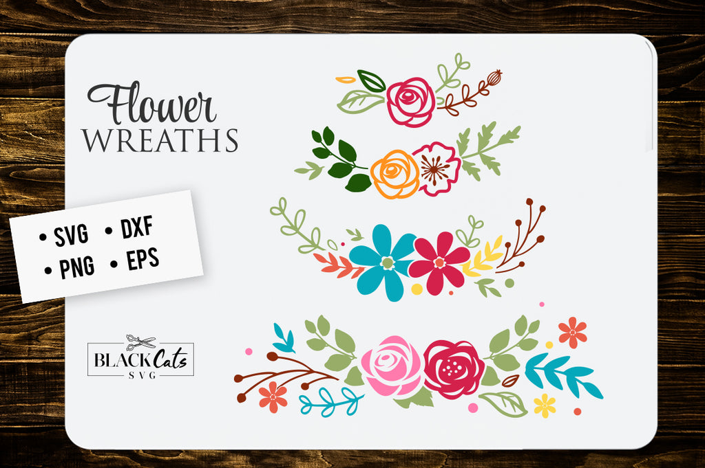 Flowers wreaths SVG file Cutting File Clipart in Svg, Eps, Dxf, Png for Cricut & Silhouette