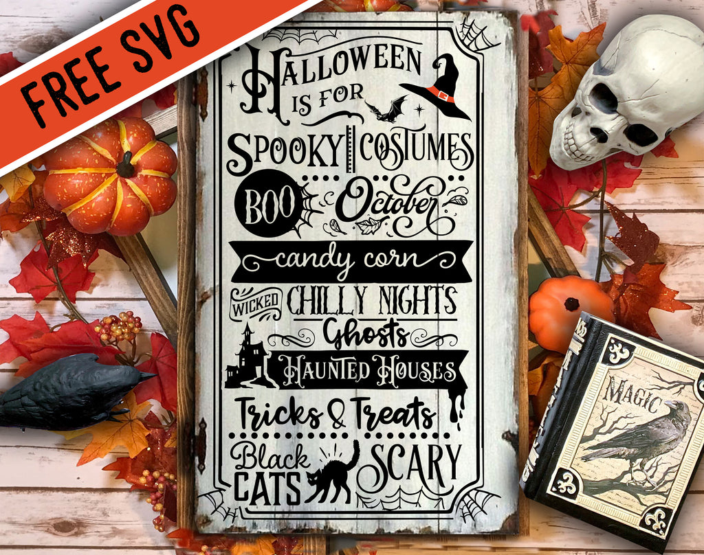FREE Halloween word art poster SVG