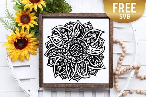 Sunflower zentangle mandala svg