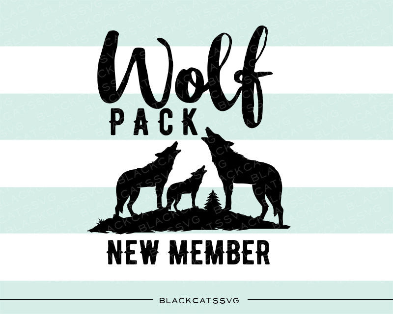 Wolf pack new member  - three wolves  - SVG file Cutting File Clipart in Svg, Eps, Dxf, Png for Cricut & Silhouette - BlackCatsSVG
