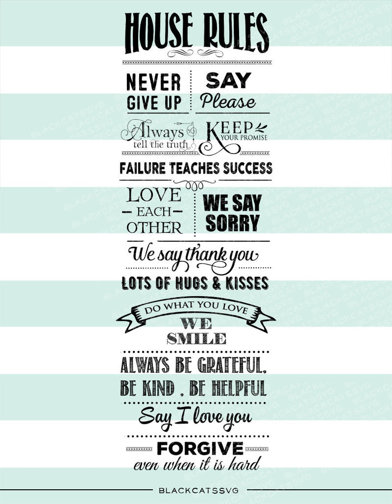Long House rules -  SVG file Cutting File Clipart in Svg, Eps, Dxf, Png for Cricut & Silhouette - Tall house rules - BlackCatsSVG