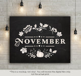 November - autumn leaves sign   -  SVG file Cutting File Clipart in Svg, Eps, Dxf, Png for Cricut & Silhouette - BlackCatsSVG