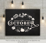 October - autumn leaves sign   -  SVG file Cutting File Clipart in Svg, Eps, Dxf, Png for Cricut & Silhouette - BlackCatsSVG