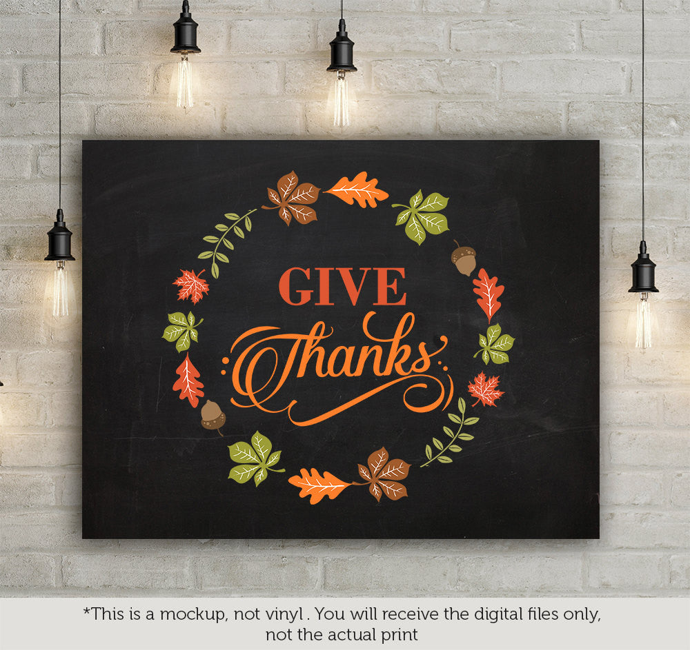 Give Thanks Leaves Frame Svg File Cutting File Clipart In Svg Eps Blackcatssvg