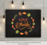 Give thanks - leaves frame -  SVG file Cutting File Clipart in Svg, Eps, Dxf, Png for Cricut & Silhouette - Thanksgiving SVG - BlackCatsSVG