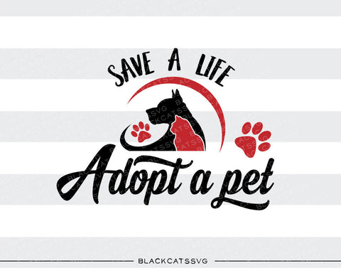 Save a life, adopt a pet -  SVG file Cutting File Clipart in Svg, Eps, Dxf, Png for Cricut & Silhouette - Bloodhound  svg - BlackCatsSVG