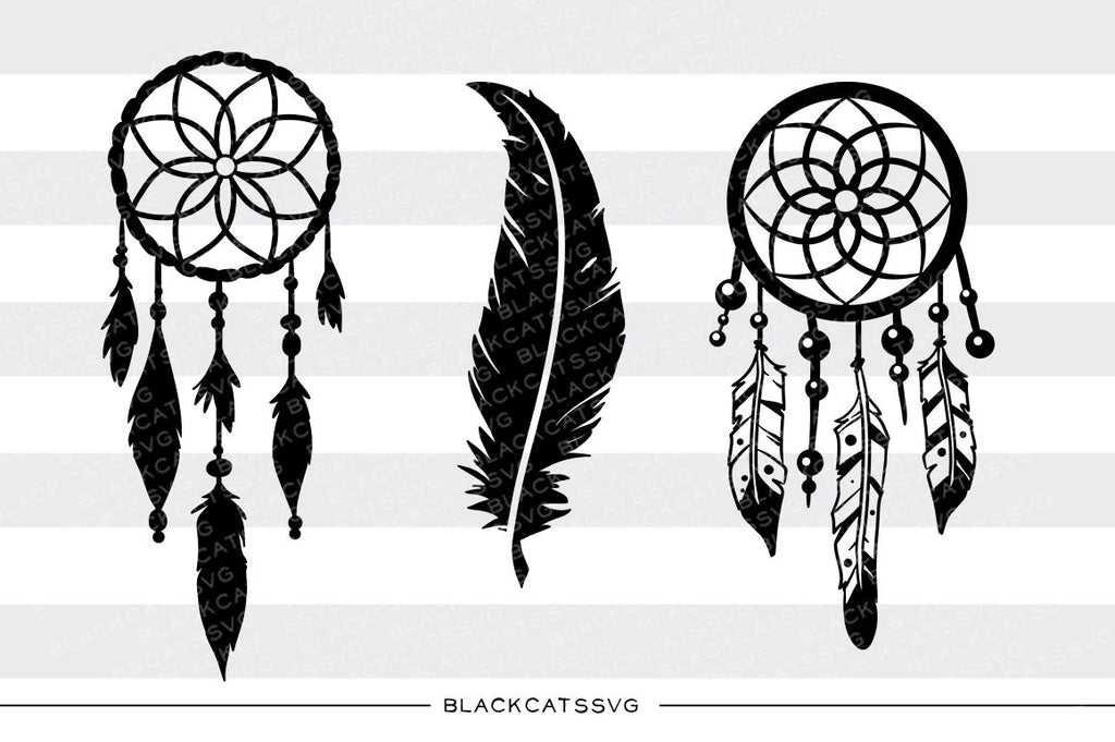 Dreamcatcher and feather  -  SVG file Cutting File Clipart in Svg, Eps, Dxf, Png for Cricut & Silhouette - BlackCatsSVG