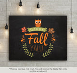 Happy Fall Y'all -  SVG file Cutting File Clipart in Svg, Eps, Dxf, Png for Cricut & Silhouette - BlackCatsSVG