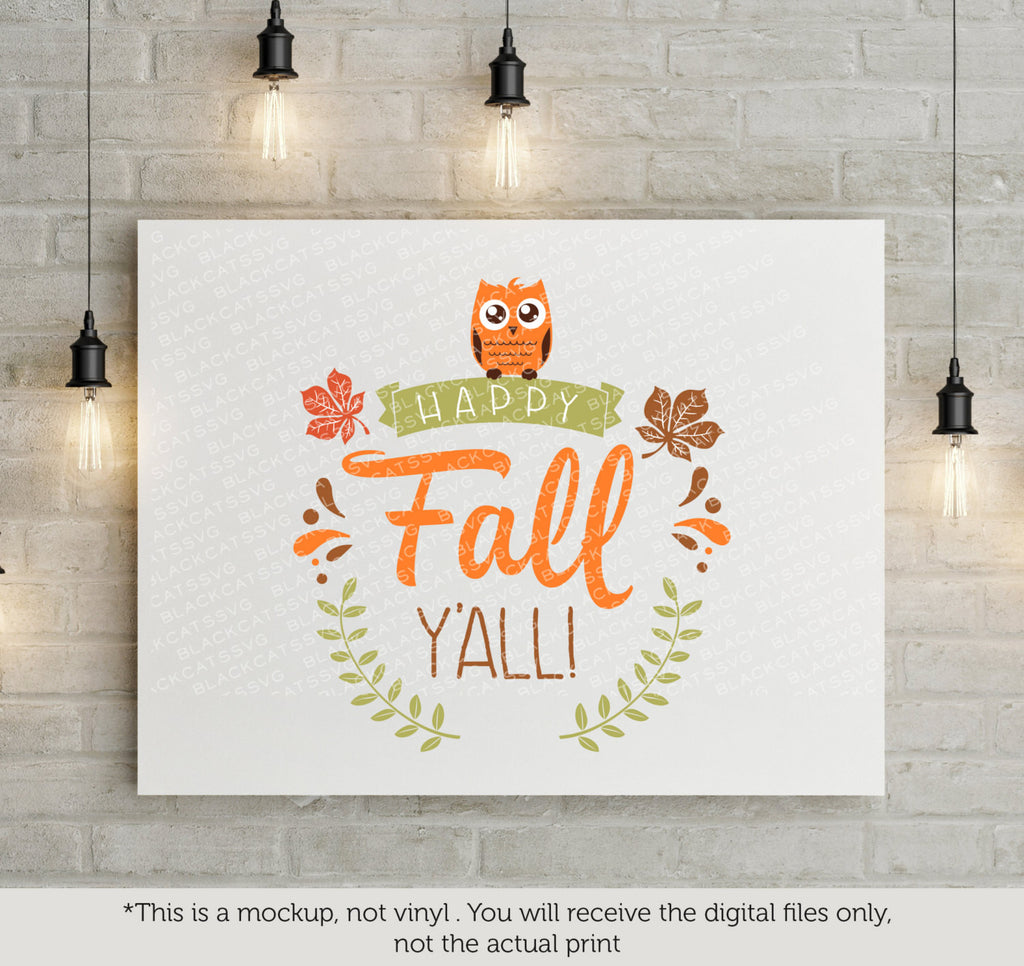 Happy Fall Y All Svg File Cutting File Clipart In Svg Eps Dxf Png Blackcatssvg
