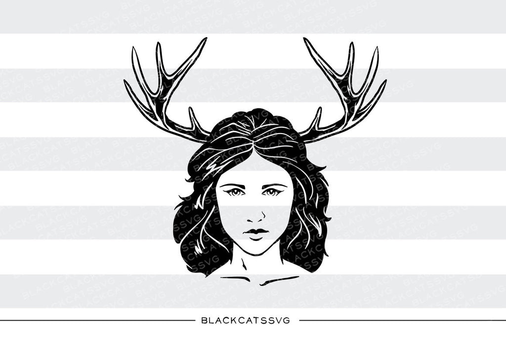 Girl and antlers -  SVG file Cutting File Clipart in Svg, Eps, Dxf, Png for Cricut & Silhouette - Boho wild svg - BlackCatsSVG