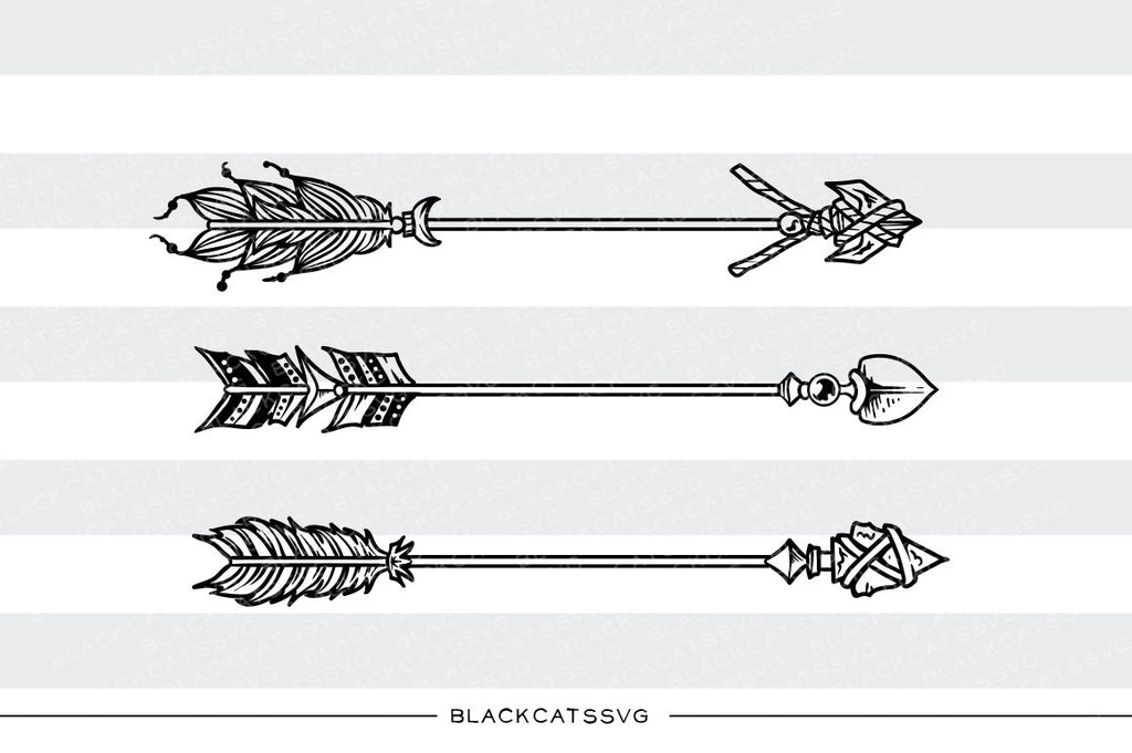 Boho Arrows  -  SVG file Cutting File Clipart in Svg, Eps, Dxf, Png for Cricut & Silhouette - Boho wild arrows svg - BlackCatsSVG