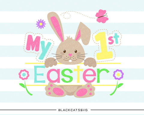 My first Easter Bunny - colored  SVG boy and girl file Cutting File Clipart in Svg, Eps, Dxf, Png for Cricut & Silhouette - BlackCatsSVG