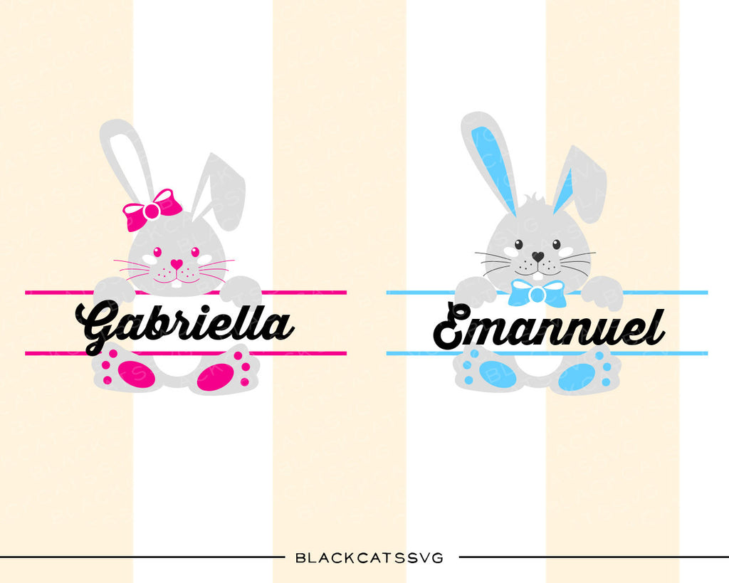 Easter Bunnies SVG boy and girl file Cutting File Clipart in Svg, Eps, Dxf, Png for Cricut & Silhouette - BlackCatsSVG