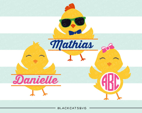 Easter Chick - monograms and name - SVG boy and girl file Cutting File Clipart in Svg, Eps, Dxf, Png for Cricut & Silhouette - baby chicks - BlackCatsSVG